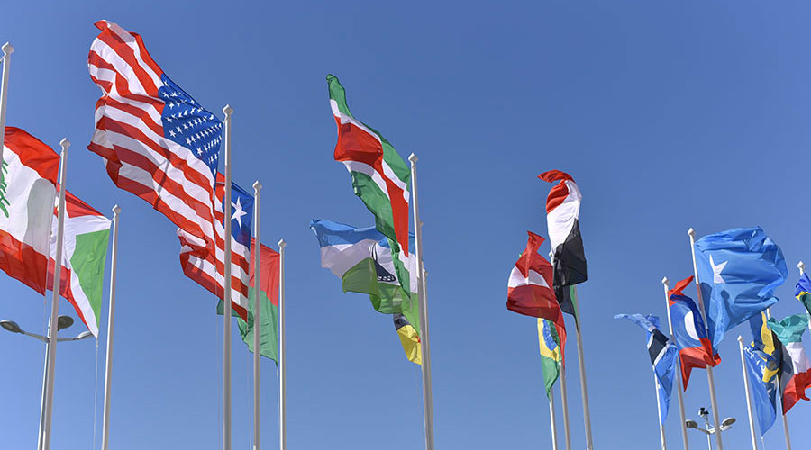 Photograph of different national flags waving in the wind with blue sky in the background.