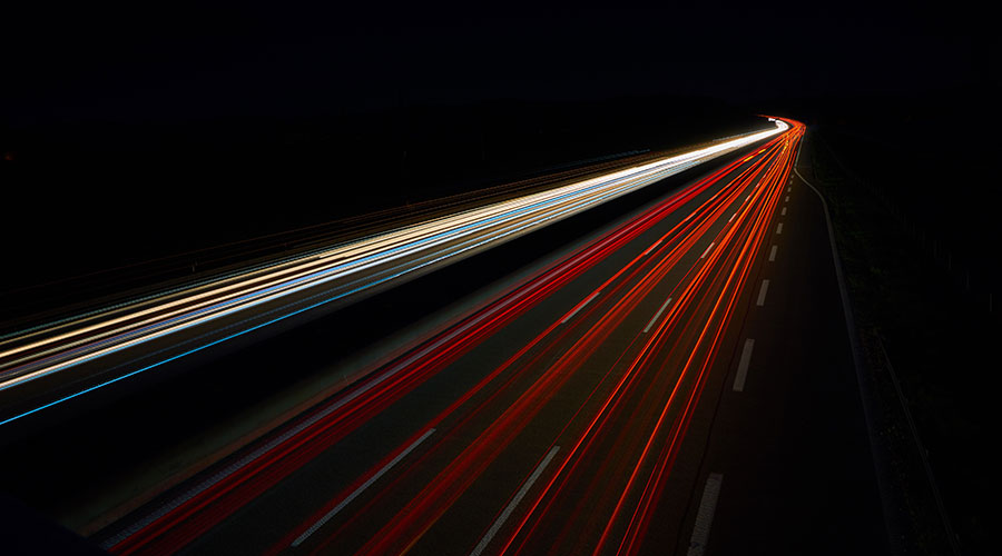 Light trails of a highway.