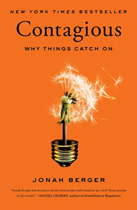 Front cover of the book 'Contagious: Why Things Catch On' by Jonah Berger.