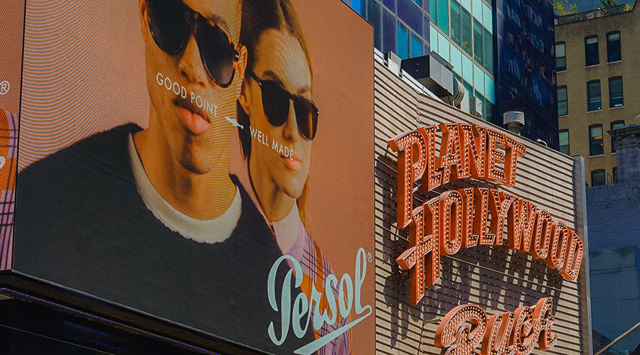 Photograph of advertisements on Time Square.